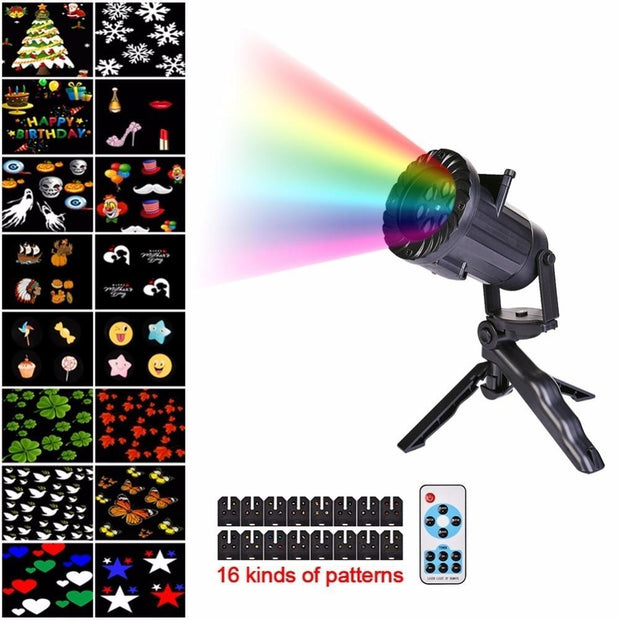 16 Patterns Christmas Laser Snowflake Projector