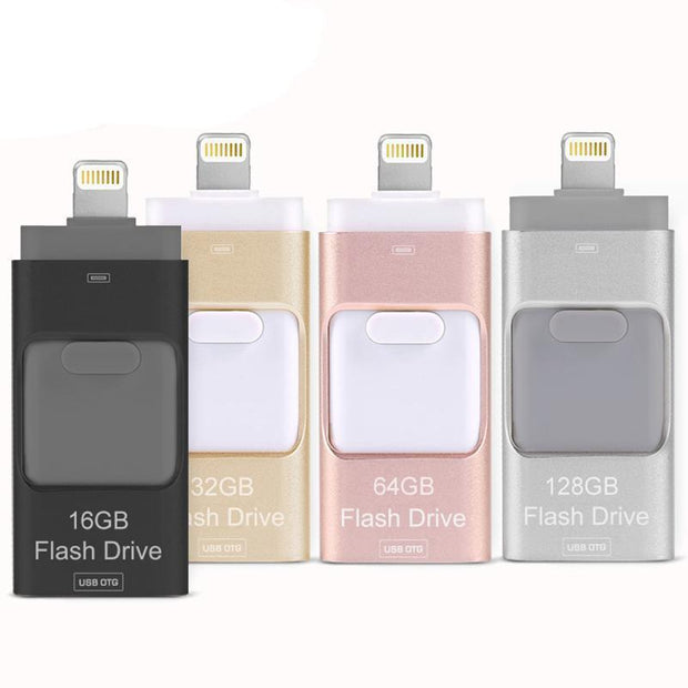 (Crazy Offer!) 3-in-1 Lightning Storage - Transfer Flash Drive For iPhones, iPads & Andriod Phones