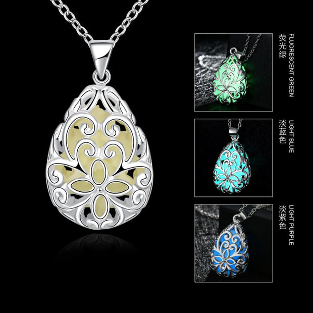 New Glow-In-Dark Stone Locket Necklace