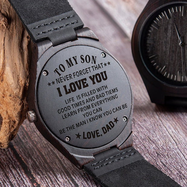 "Son - Dad ""I Love You"" Engraved Handcrafted Wood Watch"