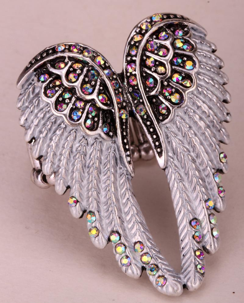 Angel wings stretch ring antique gold & silver plated