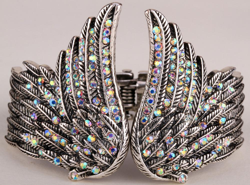 Angel wings feather bracelet antique gold & silver