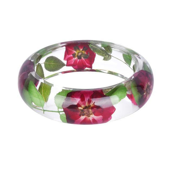 (Crazy Offer!) Lovely See-Thru Dried Flower Resin Bracelet Bangle Collections !