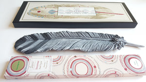 Ceramic Feather Incense Holder Gift Set