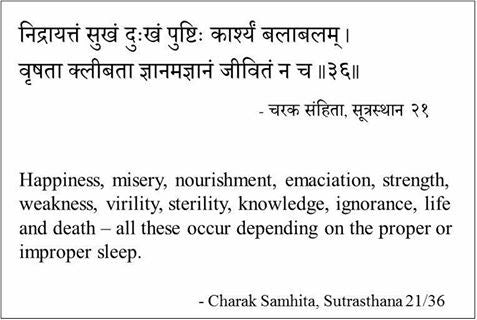 Importance of proper sleep (निद्रा) in one's life as per Charak Samhita