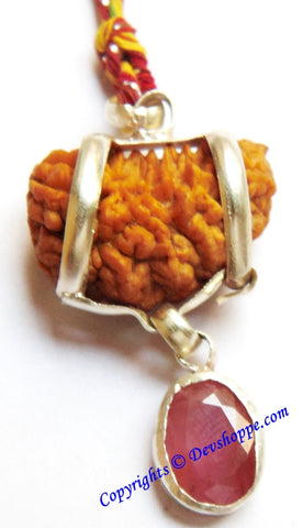 One Faced Rudraksha (1 Mukhi) Silver Pendant with Ruby Gemstone - Devshoppe