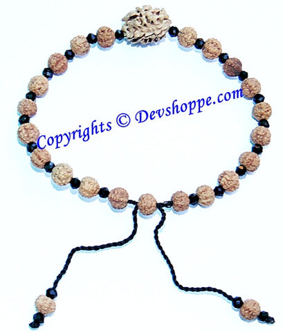 Rudraksha 7 mukhi and 2 mukhi Rudraksha combination bracelet with glass spacers