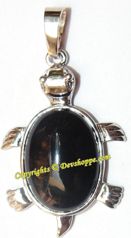 Black Agate Tortoise (Turtle) pendant in white metal - Devshoppe