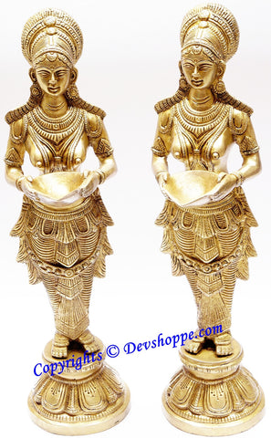 Deeplakshmi (Deep Lakshmi) statue pair in brass  -Large size