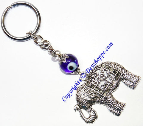 Elephant Keychain with evil eye bead - Devshoppe