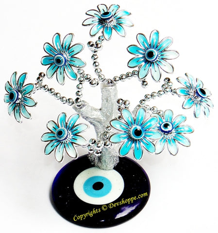 Feng Shui Evil Eye Tree for good luck and Prosperity - Aqua colored - Devshoppe