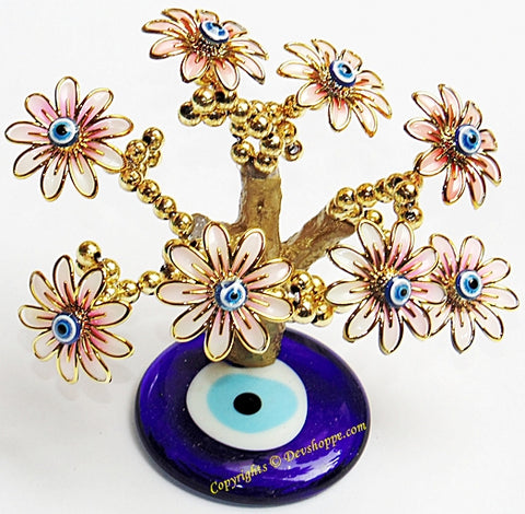 Feng Shui Evil Eye Tree for good luck and Prosperity - Pink colored