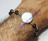 Gomti Chakra bracelet with Black Ebony beads in pure silver - Devshoppe