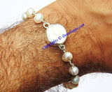 Gomti Chakra bracelet with Pearl beads in pure silver - Devshoppe