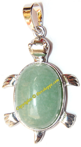 Green Jade Tortoise (Turtle) pendant in white metal - Devshoppe