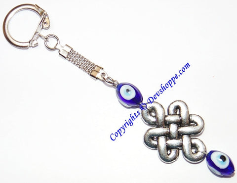 Feng Shui Mystic knot Keychain with Evil eye beads - Devshoppe