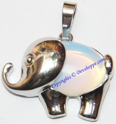 Opalite Elephant pendant in white metal