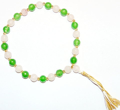 Rose Quartz and Green Jade faceted beads wrist mala - Devshoppe