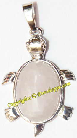 Rose Quartz Tortoise (Turtle) pendant in white metal - Devshoppe