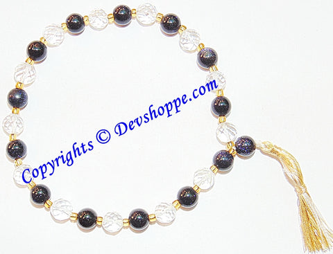 Beautiful Sphatik and Blue Sunstone Combination wrist mala - Devshoppe