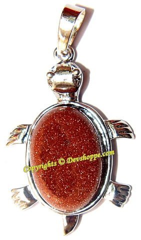 Sunstone Tortoise (Turtle) pendant in white metal