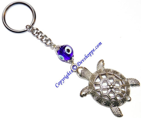 Feng Shui Tortoise Key chain with evil eye bead