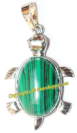 Malachite Tortoise (Turtle) pendant in white metal - Devshoppe