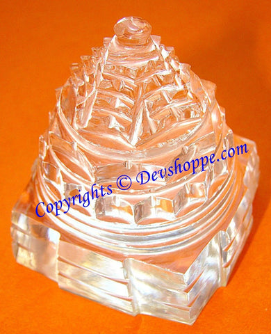 Crystal Sri yantra for wealth , prosperity , good luck and removal of negativity , 20-25 gms - Devshoppe