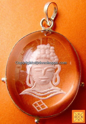 """Buddha"" hand Carved Crystal Pendant in German silver - Devshoppe"