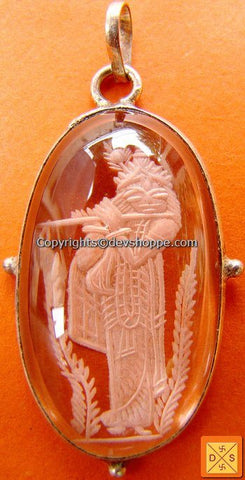 'Krishna' Crystal hand carved pendant in German Silver - Devshoppe