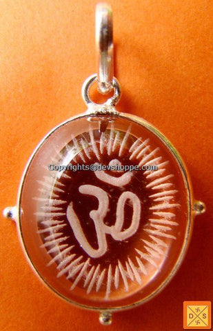 Om' hand carved crystal pendant in german silver - Devshoppe