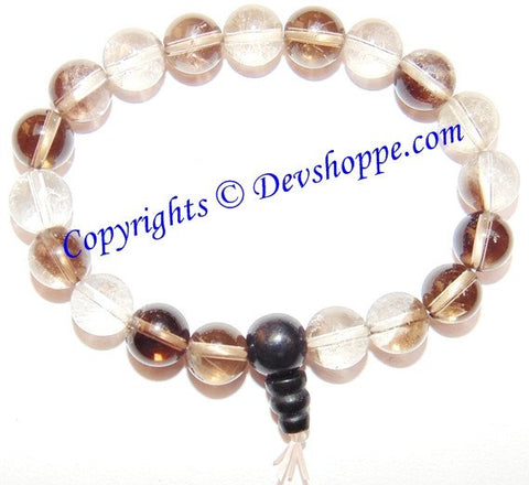Crystal Quartz beads and Smoky (Smokey) Quartz beads Combination bracelet in stretch elastic - Devshoppe