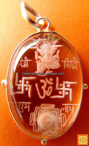 'Riddhi Siddhi Ganesha with Sriyantra' hand carved crystal pendant in white metal - Devshoppe