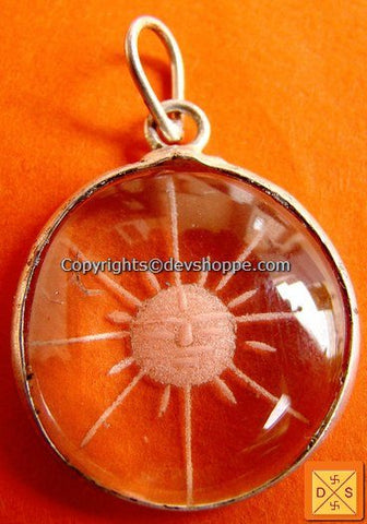 """Surya"" (Sun) hand Carved Crystal Pendant in German Silver - Devshoppe"