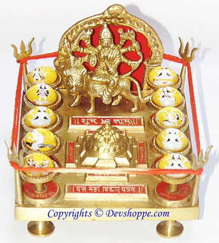 Shri Das Mahavidya Yantra Chowki (Ten Mahavidyas) in Brass