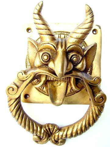 Demon faced brass Door knocker - Devshoppe