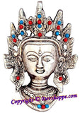 Goddess Tara Devi Face Wall Hanging in White metal - Devshoppe