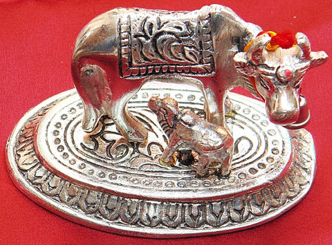 Kamadhenu (Kamdhenu) cow and calf white metal idol - Devshoppe