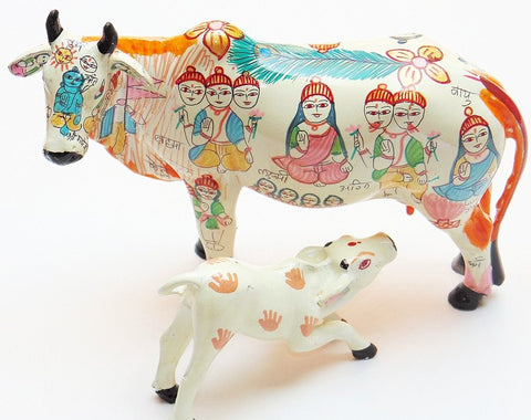 Kamdhenu (Kamadhenu) with calf - the wish fulfilling cow raisin idol - Devshoppe - 1
