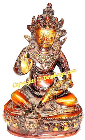 Lord Kuber (Kubera) hand painted idol (Statue) in brass - Devshoppe - 1