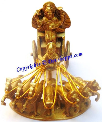 Lord Surya (Sun god) on his seven Horses chariot - Brass Statue - Devshoppe