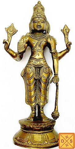 Lord Vishnu idol in brass with antique looks - Devshoppe