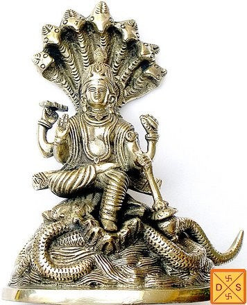 Lord Vishnu sitting on Sheshnag (serpant) mixed metal alloy idol - Devshoppe
