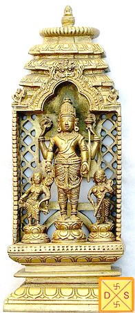 Lord Vishnu with Bhudevi and Sridevi brass idol - Devshoppe