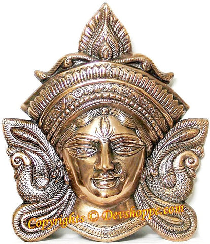 Maa Durga face wall hanging in black metal - Devshoppe