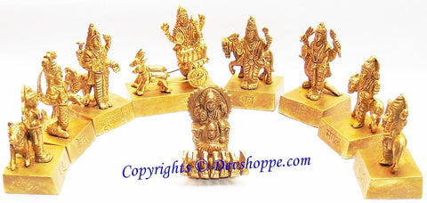 Navagraha (Nine planets) idol set in brass - Devshoppe - 1