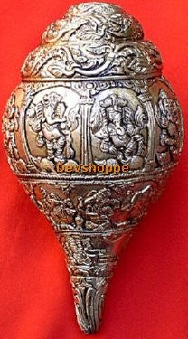 BRASS SHANKH (CONCH) WITH LORD GANESHA PICTURES - Devshoppe