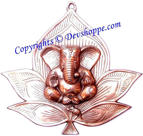 Ganesha on flower wall hanging - Devshoppe