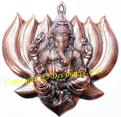 Ganesha on Lotus wall hanging - Devshoppe