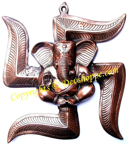 Ganesha on Swastik wall hanging - Devshoppe